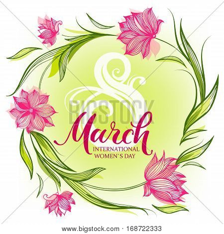 8 March greeting card with decorative tulips