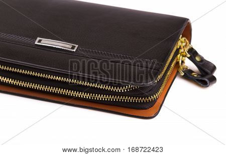 men's leather purse on two zipper on a white background