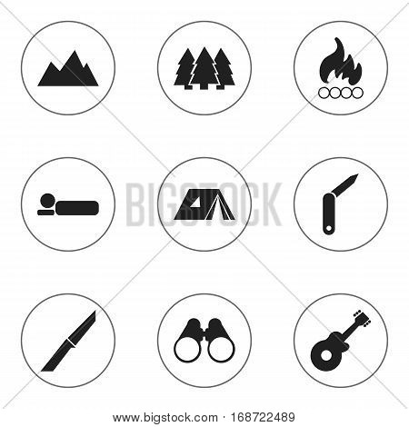 Set Of 9 Editable Travel Icons. Includes Symbols Such As Field Glasses, Clasp-Knife, Bedroll And More. Can Be Used For Web, Mobile, UI And Infographic Design.