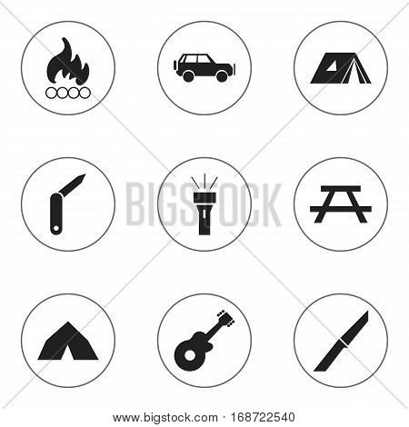 Set Of 9 Editable Camping Icons. Includes Symbols Such As Clasp-Knife, Musical Instrument, Lantern And More. Can Be Used For Web, Mobile, UI And Infographic Design.