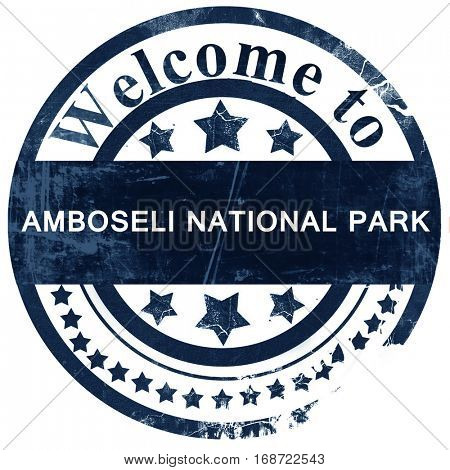 Amboseli national park stamp on white background