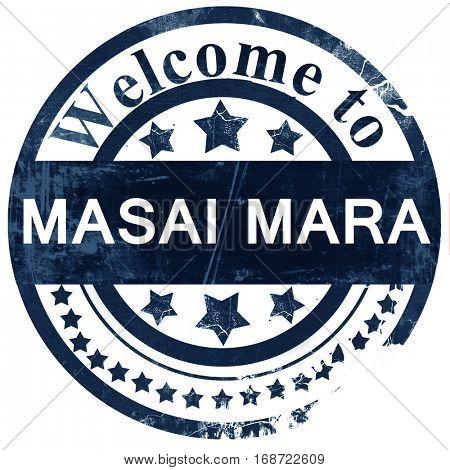 Masai mara stamp on white background