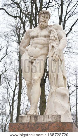 Statue of Hercules in the Alexander Garden in St.Petersburg Russia.