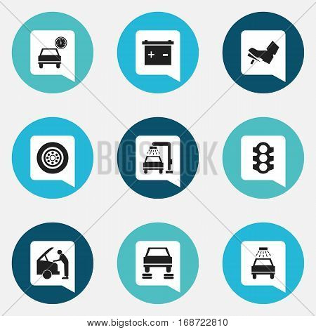 Set Of 9 Editable Car Icons. Includes Symbols Such As Auto Repair, Vehicle Wash, Stoplight And More. Can Be Used For Web, Mobile, UI And Infographic Design.