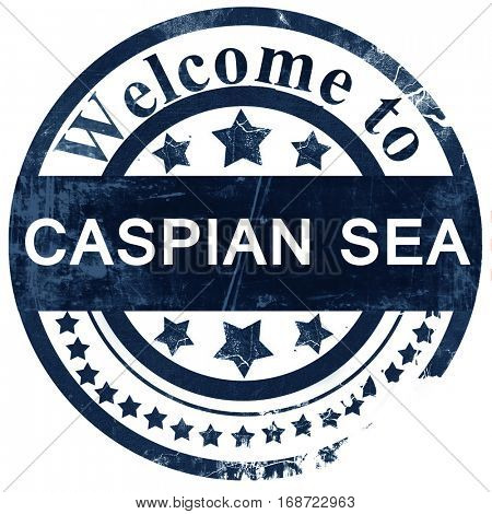Caspian sea stamp on white background