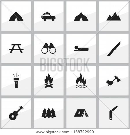 Set Of 16 Editable Trip Icons. Includes Symbols Such As Desk, Field Glasses, Refuge And More. Can Be Used For Web, Mobile, UI And Infographic Design.
