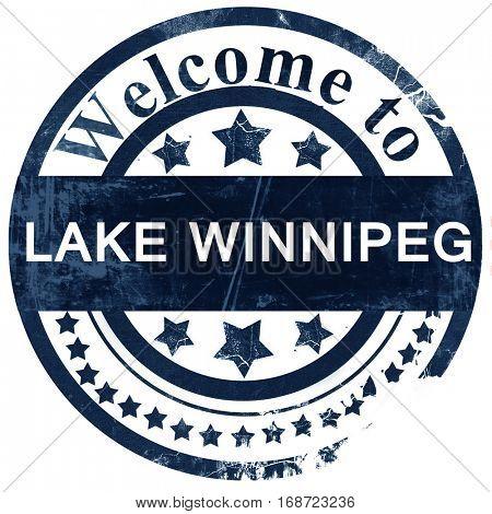 Lake winnipeg stamp on white background