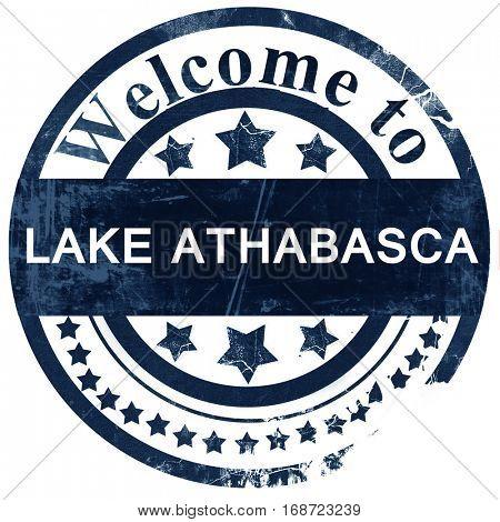 Lake athabasca stamp on white background