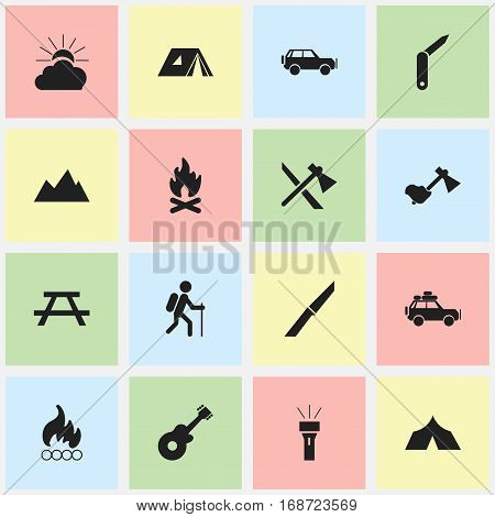 Set Of 16 Editable Trip Icons. Includes Symbols Such As Blaze, Fever, Sport Vehicle And More. Can Be Used For Web, Mobile, UI And Infographic Design.