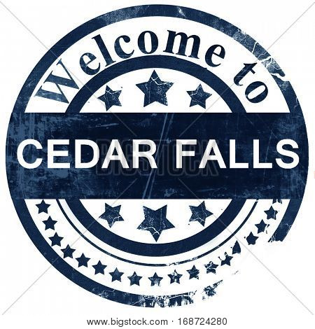 cedar falls stamp on white background