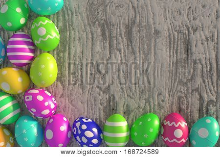 colorful easter eggs on the old rough plank, 3d rendering