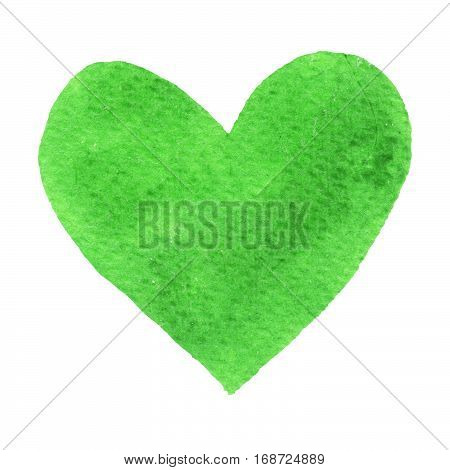 Heart green painted watercolor. Big green heart isolated on white background for text design label valentines day. Abstract aquarelle romantic element for card print icon