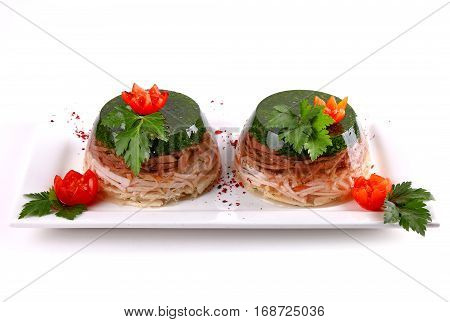 Aspic Decorated With Dill And Cherry Tomatoes