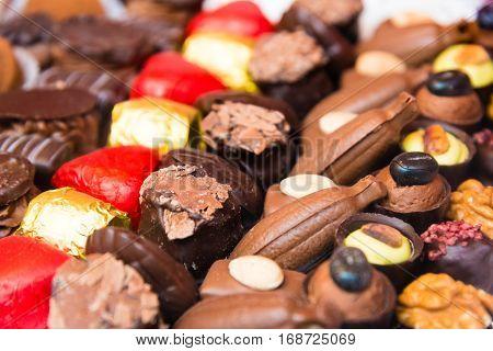 Close-up On Variety Of Belgian Chocolate Pralines