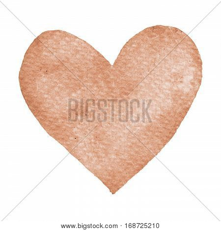 Heart ochre painted watercolor. Big orange brown heart isolated on white background for text design label valentines day. Abstract aquarelle romantic element for card print icon
