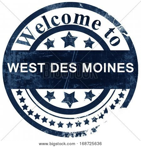 west des moines stamp on white background