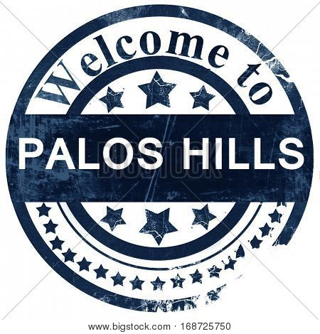 palos hills stamp on white background