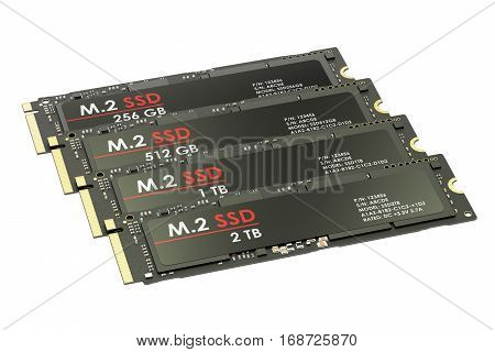 Group of M2 SSD 3D rendering isolated on white background