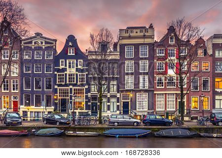 Row Of Canal Houses On The Brouwersgracht In Amsterdam In Vintage Toning