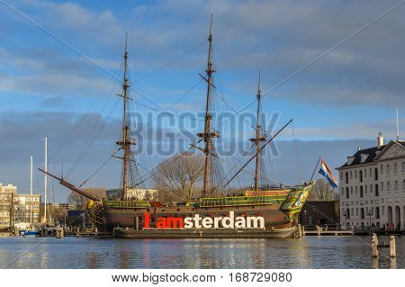 Historic Cargo Schip The Amsterdam