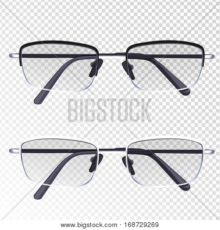 Glasses With Diopter Isolated On Imitation Transparent Background