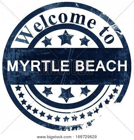 myrtle beach stamp on white background