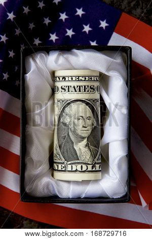 An American dollar in a casket with flag in the background.