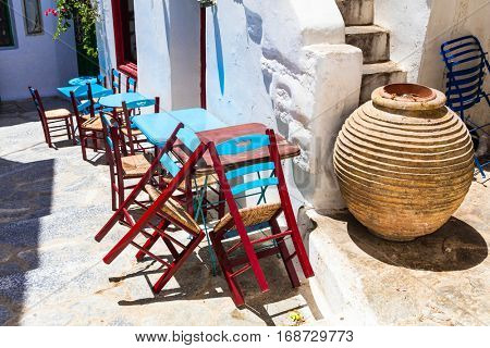 Traditional Greece series - cute small street taverna. Amorgos i
