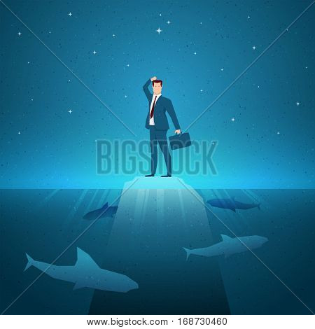 Dangerous situations. Business concept vector illustration. Elements are layered separately in vector file.