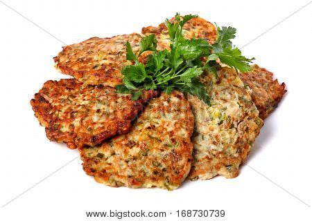 Potato Pancakes Decorated With Parsley
