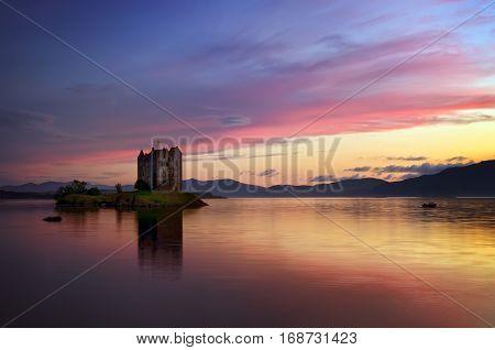 Stalker Castle in colorful evening light Highlands Scotland