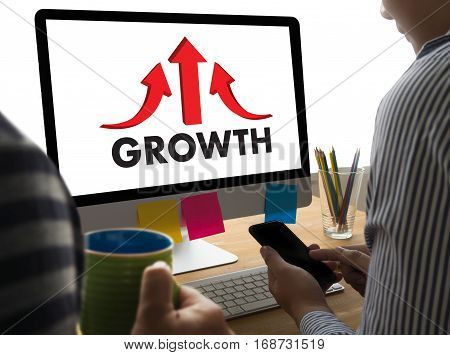 Businessman Success Increase Growth Improve Your Skills And Make Things Better To Improvement Arrow