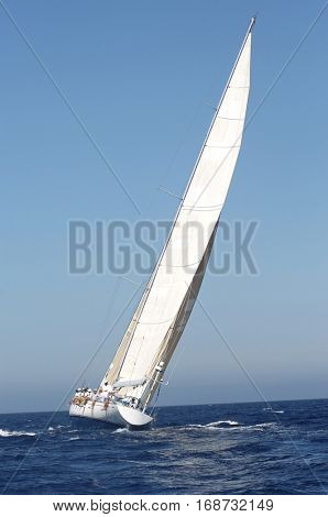 Sailing boat in yacht race against the clear blue sky