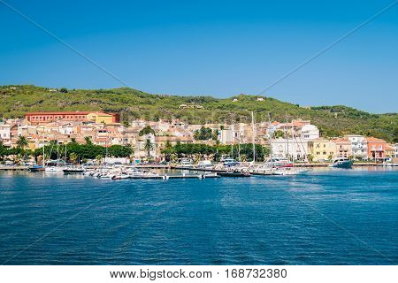 View of Carloforte place famous for the salt pans and tuna processing. San Pietro Island Sardinia Italy.