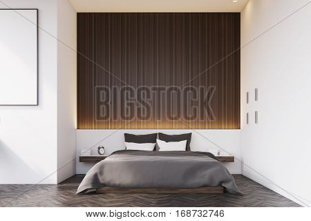 Front View Of Bedroom With Wooden Wall