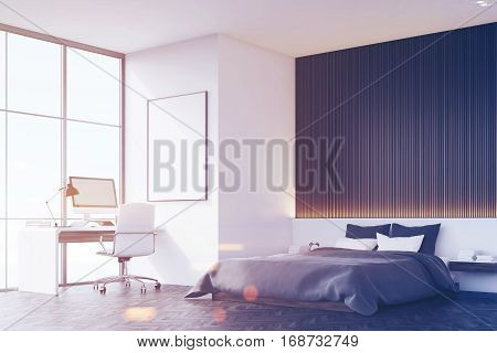 Bedroom With Wooden Wall, Table, Side View, Toned