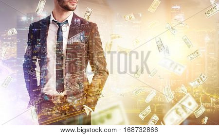 Bearded Businessman, Money Rain And City