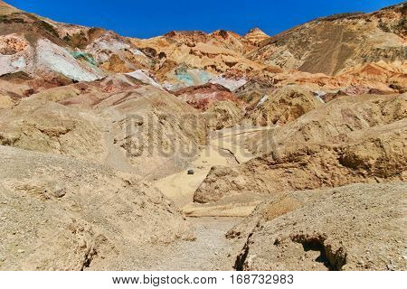 Artist's Palette Mountains in Death Valley National Park, CA. Various mineral pigments have colored the volcanic deposits found here.