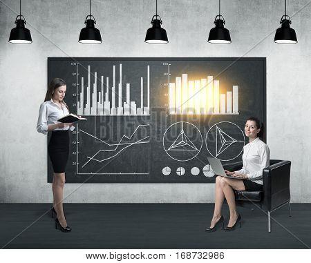 Two Women Near Blackboard With Four Graphs
