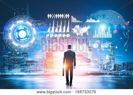 Man Looking At Virtual Business Panel