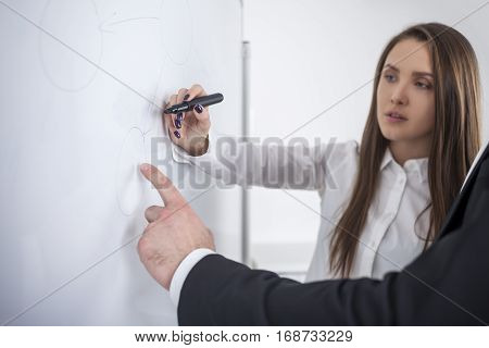 Woman Writing At Whiteboard In Office
