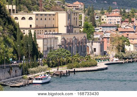 View of the hydroelectric power station of Riva del Garda Trento Italy.