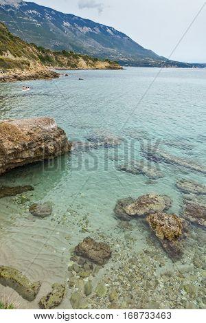 Panoramic view of Pessada beach in Kefalonia, Ionian Islands, Greece
