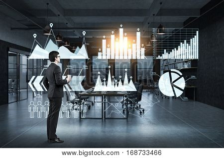 Man With Coffee And Six Graphs On Glassboard