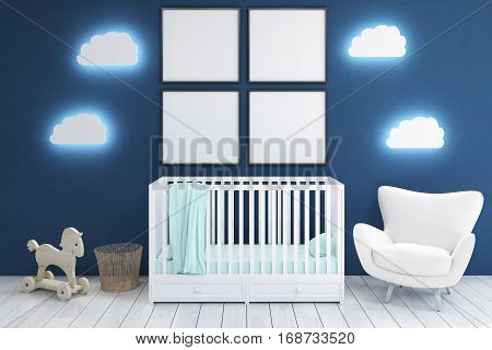 Kid's Room With Armchair And Posters, Blue