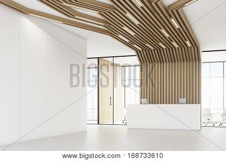 Reception Desk And Brown Pipes, Corner