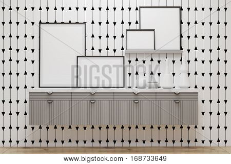 Room With Drawers And Posters, White Wall