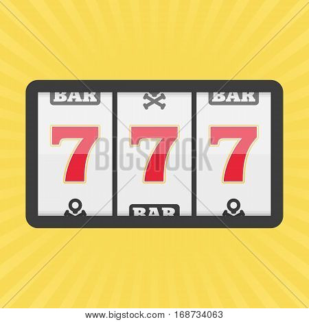 Slot machine with three sevens icon. Vector illustration of lucky sevens jackpot. Win gambling casino concept. Flat style. EPS 10.
