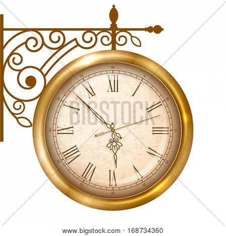 Vintage street clock hanging on forged bracket. Vector illustration, isolated on white background.