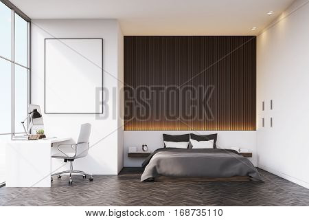 Bedroom With Wooden Wall And Table